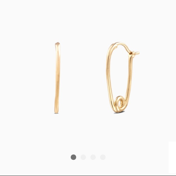 Gold Beaded Safety Pin Threader Earrings